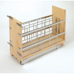 """Rev-A-Shelf - 5""""Tray Divider, Foil & Wrap Organizer Soft-Close - Rev-A-Shelf's baking storage has never been more versatile than with the 447 Pullout Organizer. These organizers feature two compartments for storing baking sheets and platters and the removable center racks allow you the ability to store larger platters and bake ware if desired. The unit is made from Maple and glides on a ball-bearing soft-close slide system. Door mounting is a breeze with our patented door mount brackets that provide up to 5 inches of flexibility for trouble free installation on any door style. This unit features:"""