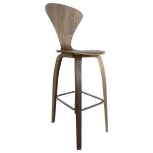 "Fine Mod Imports Wooden Bar Chair 30"", Walnut"
