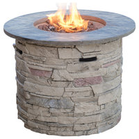"GDF Studio Blomgren 32"" Stone Circular MGO Fire Pit with Gray Top, 40,000 BTU"