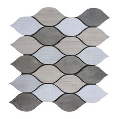 """12""""x12"""" Luxembourg Louvre Jardin Blend Marble Mosaic, Set of 5"""