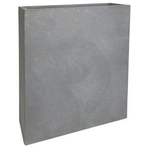 Raised Narrow Light Concrete Trough Plant Container, Dark Grey, Small