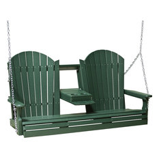 5' Adirondack Style Poly Lumber Porch Swing, Green