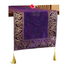 """Hand Painted Deluxe 72""""x17"""" Table Runner, Plum Purple"""