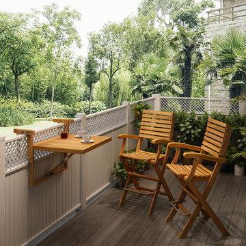 Interbuild balcony Series, Toronto balcony table with Casino bar chair