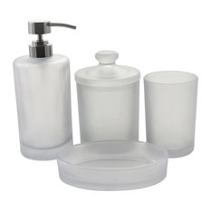 Smoked Glass Bath Accessory Set of Cloud Collection