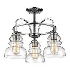 Millennium Lighting Brighton 3-Light Semi-Flush Mount, Chrome/Clear