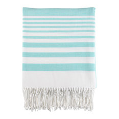 "Classic Lightweight Striped Throw 2 Color -50""x60"", Aqua"