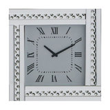 Square Mirrored Clock With Studded Crystal Frame, Silver
