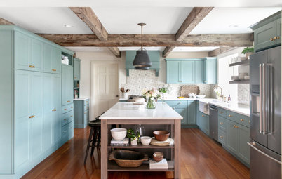 Kitchen of the Week: Blue-Green Cabinets With Rustic Wood Details