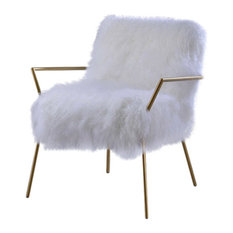 Acme Furniture - Acme Bagley Accent Chair, Wool and Gold Brass - Armchairs and Accent Chairs