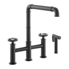 Avallon Pro Widespread Kitchen Faucet With Side Sprayer, Matte Black