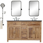 """JWH Living - Woodland Bluestone, Natural Pine, 72"""" - The Woodland Collection, features reclaimed barnwood bathroom cabinetry made from solid pine."""