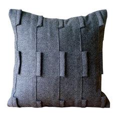 "Gray Pintucks And Loop 16""x16"" Felt Pillowcase, Gray Sophistication"