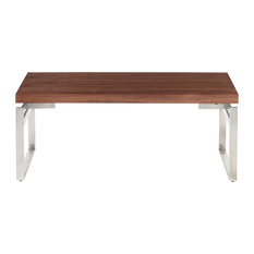Drift Industrial Bench Stainless Steel And Walnut Wood