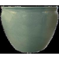 "Chinese Porcelain Fish Bowl Planter, Celadon Crackle, 16"""