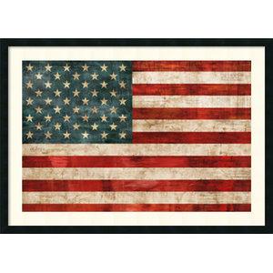 5eae5f4e9f1 Large Framed 3 x5  US American Flag - Rustic - Artwork - by Texas Crazy