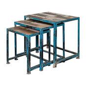 Reclaimed Wood and Iron Nesting Tables, Mango Wood, 3-Piece Set