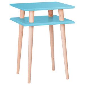 UFO Square Scandinavian Side Table, Dark Turquoise
