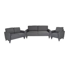Offex 3 Piece Fabric Upholstered Set With Rounded Arms Dark Gray