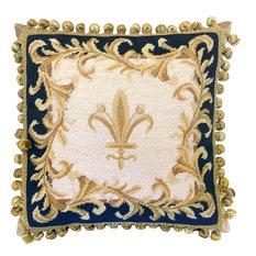 "Finest Pettipoint Navy Blue Frame Gold Fleur De Lis With Tassels Pillow, 16""x16"""