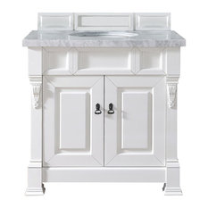 "Brookfield 36"" Cottage White Single Vanity w/ 4cm Carrara White Marble Top"