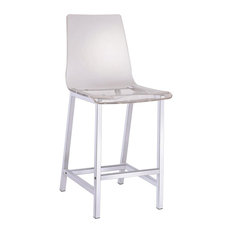 White Acrylic Counter Height Chairs With Chrome Base, Set of 2
