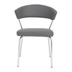 Draco Side Chair, Set Of 4, Gray/Chrome