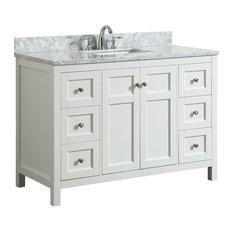 1st Avenue - Adley White Bathroom Vanity With Marble Top, 49'' - Bathroom Vanities and Sink Consoles