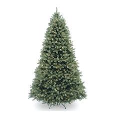 National Tree Company - 6 1/2' Feel Real Downswept Douglas Blue Fir Hinged Tree With 650 Clear Lights - Christmas Trees