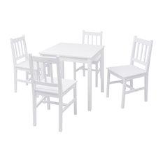 vidaXL 5-Piece Dining Set Pinewood, White