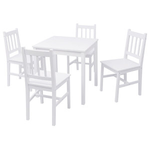 vidaXL 5-Piece Dining Set Pinewood, White