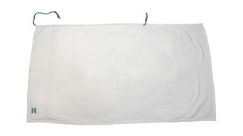 Collection Beach Towel, White With Turquoise String