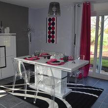 Salon Salle à manger gris et rose - Modern - Dijon - von ...