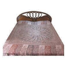 Mogul Interior - Kashmir Blanket Pashmina Bedspread Dusty Pink Reversible Indian Bedding - Blankets