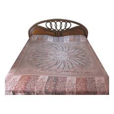 Mogul Interior - Kashmir Blanket Pashmina Bedspread Dusty Pink Reversible Indian Bedding - Quilts And Quilt Sets