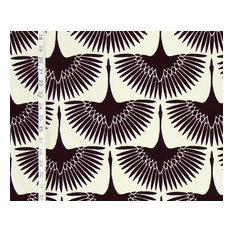 Art Deco fabric Egyptian bird lotus black white egret goose, Standard Cut