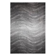 """Contemporary Ombre Waves Polypropylene Rug, Gray, 7'6""""x9'6"""""""