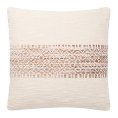"Loloi P0809 Decorative Throw Pillow, Blush/Multi, 18""x18"", Down Fill"