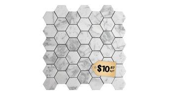 "$10.87SF Carrara Hexagon 2"" Carrera Marble Mosaic Tile"
