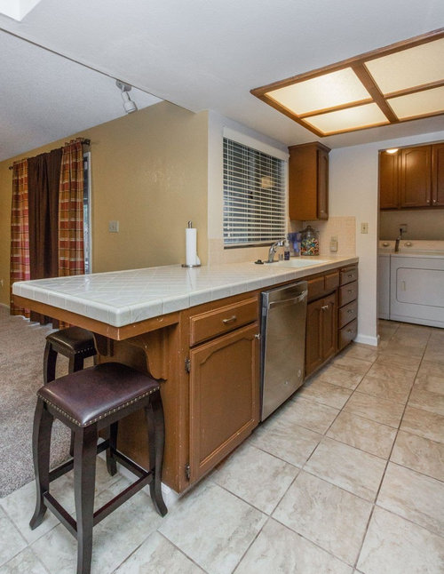 Small Kitchen With Hardly No Cabinet Or Counter Space