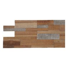 """23.62""""x7.87"""" Kayu Lofts Mix Teak Wall Tiles, Set of 10"""
