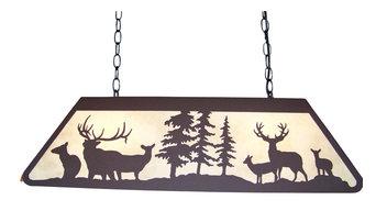 Elk And Mule Deer Scene Medium Pool Table Lamp