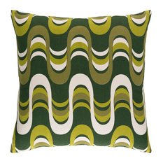 """Modern Cotton Dark Green and Olive and Lime Accent Pillow, 18""""x18"""""""