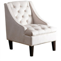 Abbyson Living Kailey Tufted Swoop Chair, Cream