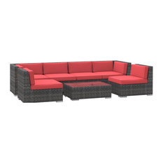Oahu Outdoor Patio Furniture Sofa Sectional, 7-Piece Set, Coral Red