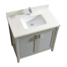 "Aurora 36"" Vanity Set With White Quartz Top, Oxford Gray"