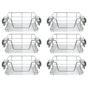 Modern Set of 6 Kitchen Baskets, Stainless Steel Wire Perfect for Space Saving