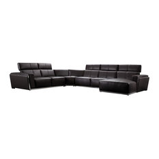 Vig Furniture Inc.   Tempo Dark Brown Top Grain Leather Sectional Sofa With  Adjustable