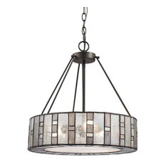 Ethan 3-Light Chandelier Tiffany Bronze Mercury/Clear Ripped