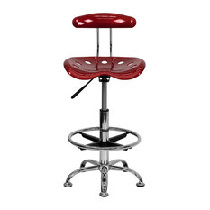 flash furniture flash furniture vibrant drafting stool seat in wine red and chrome office - Drafting Chairs